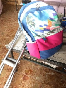 Things I never go without moving anywhere - my crutches, and my bag with all my necessities